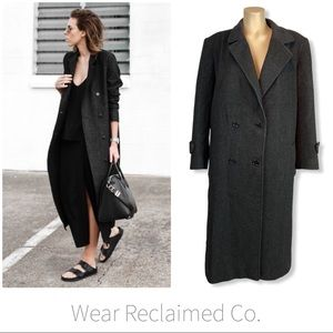 VTG Charcoal Double Breasted Wool Trench Coat ~ 10
